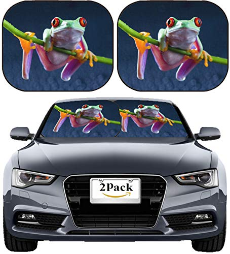 MSD Car Sun Shade Windshield Sunshade Universal Fit 2 Pack, Block Sun Glare, UV and Heat, Protect Car Interior, Image ID: Red Frog Image 709423 Stain Resistance Collector Kit Kitchen - Sunshade Frog