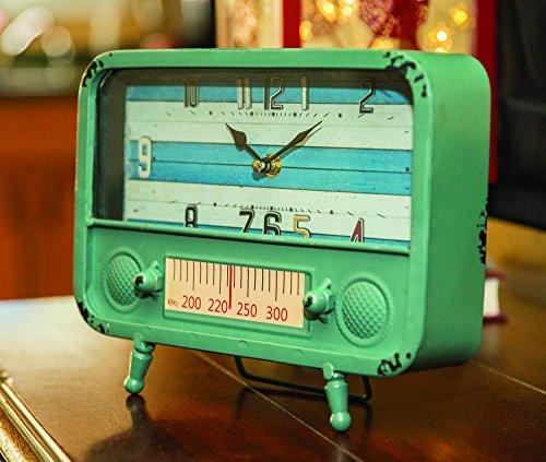 Retro TV Blue 10 Inch Tabletop Metal (Metal Retro Tv Clock)