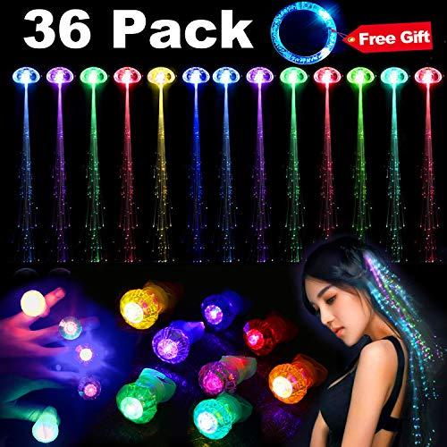 36 Pack Light Up Toy Set Glow In The Dark,24 Flashing Fiber Optic Hair /12 LED Flashing Bumpy Rings for Party Favor Supplies Bar Dancing Gift,Led Hair Lights Multicolor Flash Barrettes Clip Braid (Random Color)