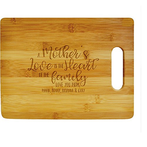 Personalized Mother's Day Cutting Board, A Mother's Love is the Heart of the Family with Custom Names, Engraved Bamboo Cutting Board, 100% Bamboo
