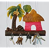 999Store Wall Mounted Indian Art Painting Handmade Wooden Crafted Hand Painted Cocunut Hut Art Key Holder