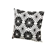 2pcs Floral Flower Throw Pillow Case Cushion Cover Pillow Slip - Black and White