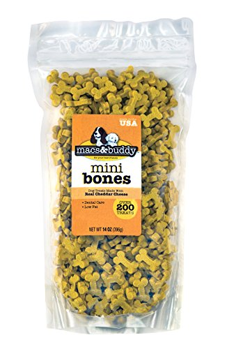 (Talk to Me Mini Bone Dog Treats - Cheddar Cheese Flavor - 14 oz re-sealable Stay-Fresh Bag. USA Made. Low Calorie. Over 200 Mini Bones.)