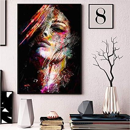 Arte Abstracto de la Pared Lienzo Pintura al óleo Mujer Cara Colorida Pared Cuadros Impresiones del Cartel para el Pasillo del Hotel Sala de Estar decoración para el hogar Arte 80x100cm sin Marco