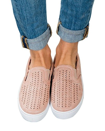Womens Shoes Classic Canvas Natural Slip On Loafer Comfort Trainers Walking Flat Sneaker by Big Tree Pink kQ5BPOUI