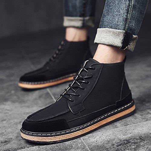 Men's Shoes Feifei Winter Leisure Non-Slip High Help Shoe 3 Colors (Color : Black, Size : EU43/UK9/CN44)
