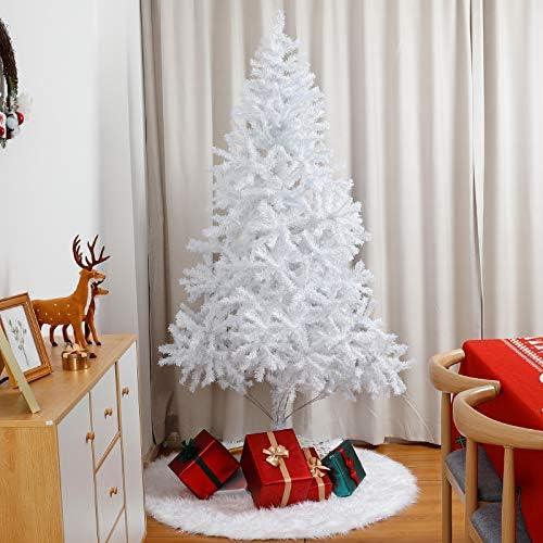 Yorbay Albero di Natale Bianco con Supporto in Metallo, per Interni e Esterni, Decorazioni Natalizie (210cm)