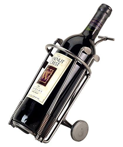 H & K Sculptures Golf Bag Wine Bottle Holder/Wine Caddy, Silver by H & K SCULPTURES