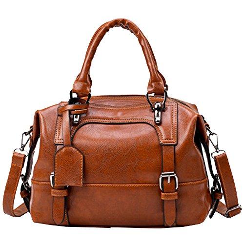 Rakkiss Women Vintage Bag Four Belts Shoulder Bags Sequined Women Handbags Big Capacity Crossbody Handbag (One_Size, brown)