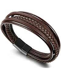 Braided Leather Bracelet for Men Bangle Wrap Stainless Steel Magnetic-Clasp 7.5-8.5 Inch