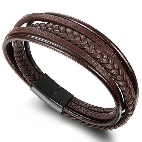 Jstyle Braided Leather Bracelet for Men Bangle Wrap Stainless Steel Magnetic-Clasp 8 Inch Brown