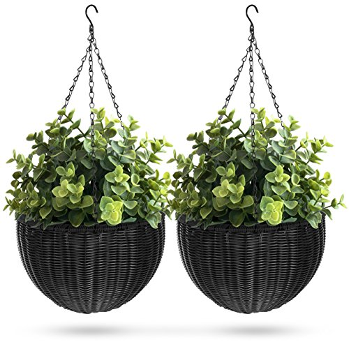 Black Rattan - Best Choice Products Set of 2 Patio Garden Round Wicker Rattan Pot Hanging Planters w/Triple-Chain Hanger - Black
