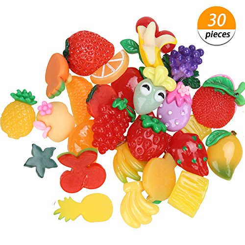- Charms for Slime, 30 Pieces Cute Fruit Beads to Put in Slime for Scrapbooking DIY Crafts