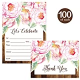 All Occasion Invitations ( 100 ) & Thank You Cards ( 100 ) Matched Set with Envelopes Pink Flowers Rustic Fill-in-Style Guest Invites & Folded Thank You Notes Best Value for Large Event Celebration