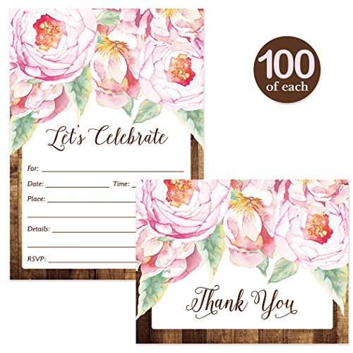 All Occasion Invitations ( 100 ) & Thank You Cards ( 100 ) Matched Set with Envelopes Pink Flowers Rustic Fill-in-Style Guest Invites & Folded Thank You Notes Best Value for Large Event Celebration by Digibuddha