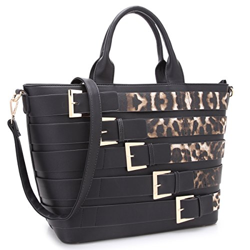 - Dasein Women Tote Purse with Buckles Large Size Handbag with Shoulder Strap (black/leopard)