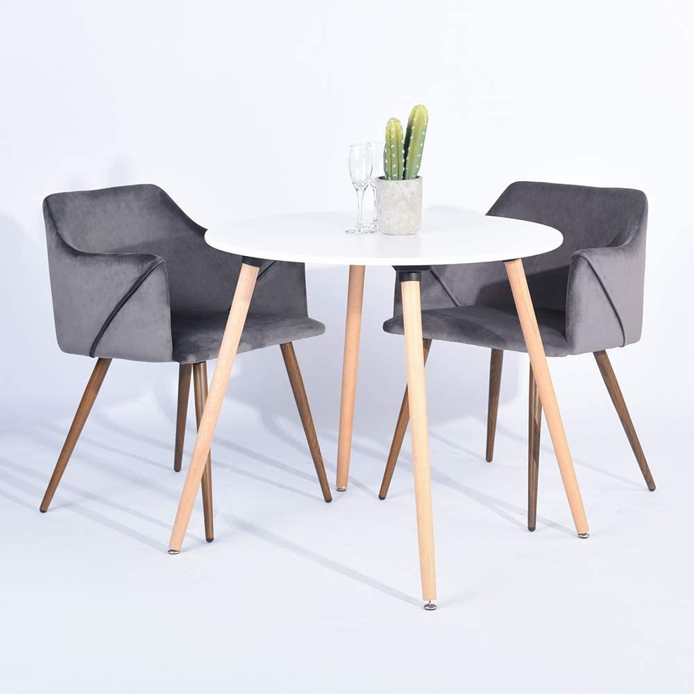 HOMY CASA Modern Velvet Dining Room Chairs, Large Fabric Side Chairs with Metal Leg for Kitchen Dining Room Bedroom Leisure Chairs Set of 2, Grey