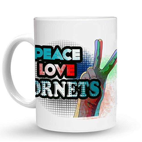 Makoroni - PEACE LOVE HORNETS - 11 Oz. Unique COFFEE MUG, Coffee Cup
