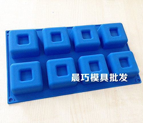 Mold Square - Silicone Cake Mold Eight Hole Square Die Hand Soap - Cake Square Mold Cutter Soap Cake Molds Mould Silicon Mold Baby Hand Foot Craft Dove Feet Human Clay Halloween Tool Flower Love ()