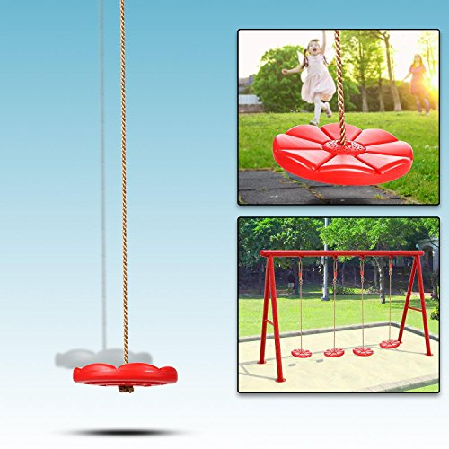 Kids Round Jungle Gym Swing Seat, Heavy Duty Chain Playground Swing Set Max Hold 200lbs for 3+, US STOCK - Round Swing