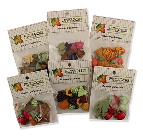 Buttons Galore AUTUMNGROUP Autumn Button Theme Pack - Set of 6 by Buttons Galore