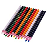 MagiDeal 12 Pieces Peel Off Markers Chinagraph Grease Wax Pencil for Metal Glass Fabric