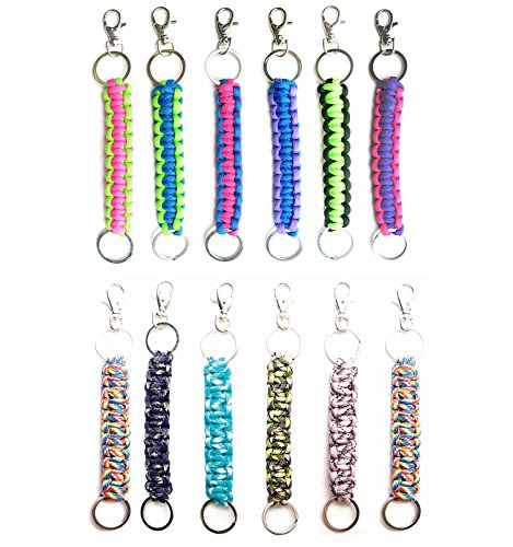 Boy Ring Key (Paracord Keychain Keyrings 12 Pack for Men Boys Women Girls Teens | Key Keeper Party Favors | Handmade Cobra Braid Key Fobs Braided with Genuine 550 lbs Parachute Cord | Frogsac USA Seller (Girls))