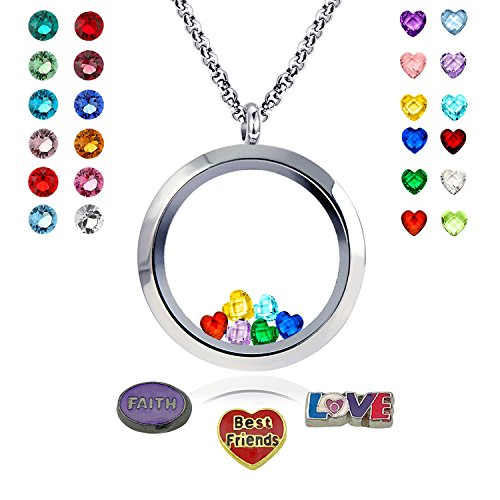 Mom Best Locket (Ronglai Jewelry Floating Locket Necklace I Love You to the Moon and Back Best Friend Necklaces 24 Birthstones women gifts)