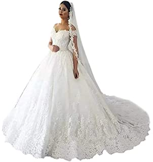 104708e8a570 Firose Women's Lace Appliques Wedding Dresses Long A-Line Off The Shoulder  Wedding Gowns with