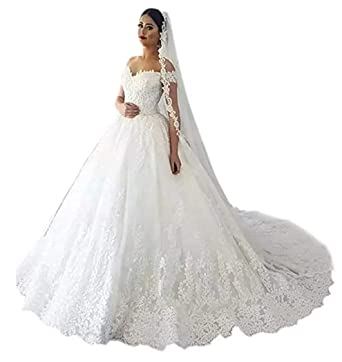A Line Wedding Dresses.Firose Women S Lace Appliques Wedding Dresses Long A Line Off The Shoulder Wedding Gowns With Veil