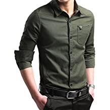 LOCALMODE Men's Military Slim Fit Dress Shirt Casual Long Sleeve Button Down Dress Shirts
