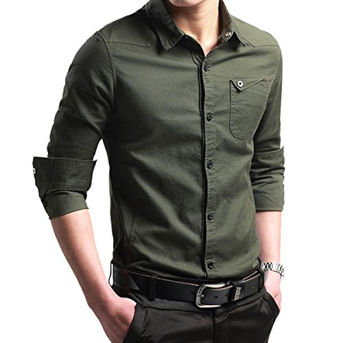 LOCALMODE Men's Military Slim Fit Dress Shirt Casual Long Sleeve Button Down Dress Shirts…