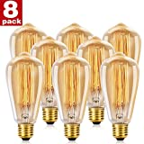 WEDNA Vintage Edison Light Bulb 40w Retro Old Fashioned ST64 E27 Screw 220V Tungsten Filament Glass Antique Lamp - 8 Pack
