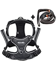 Dog Harness, MerryBIY No Pull Dog Harness Reflective Adjustable Vest with Handle& Front and Back Lead Attachments Padded Puppy Pet Outdoor Chest Harness for Small Medium Large Dogs Training Walking