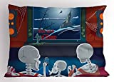 Ambesonne Movie Theater Pillow Sham, Family of Skeletons Sitting on a Sofa and Watching a Fantastic Movie at Home, Decorative Standard Size Printed Pillowcase, 26 X 20 inches, Multicolor