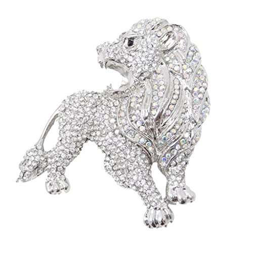 EVER FAITH Roaring King Lion Clear Austrian Crystal Brooch Silver-Tone -