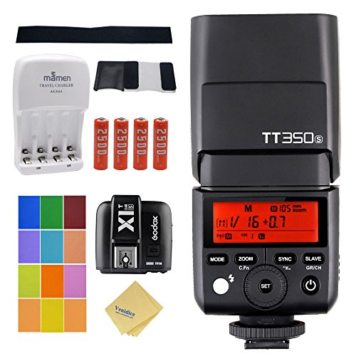 Godox TT350S Mini Speedlite 2.4G Wireless Master & Slave 1/8000S HSS TTL + X1T-S Transmitter for Sony A77II A7RII A7R A58 A99 ILCE6000L Camera + 4 AA Battery & Charger + Venidice Cloth by Godox