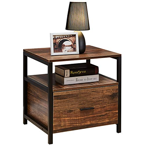 VECELO Modern Rectangular Wood Nightstand, Side/End/Coffee/Accent Table, Cabinet with Drawer for Storage, Brown