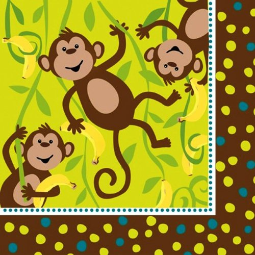 (16-Count Paper Lunch Napkins, Monkeyin' Around)