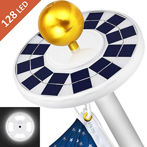 MOICO Solar Flag Pole Light, 128 Super-Bright Solar Powered LED Flagpole Light, 2500mAh Waterproof Solar Light for in-Ground Poles 15-20 Foot, Energy Saving LEDs, Auto On/Off Night Lighting (Best Solar Flagpole Light)