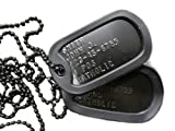 Custom Personalized Black Subdued Dog tag Set with Chains and Silencers
