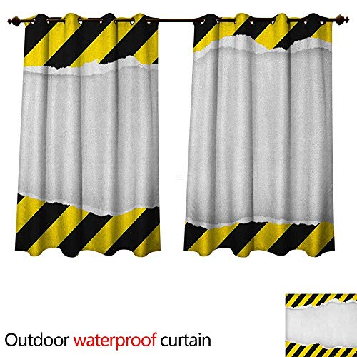 Anshesix Construction Outdoor Curtains for Patio Sheer Ripped Paper with Construction Sign Safety Warning Alert Framework W96 x L72(245cm x 183cm)