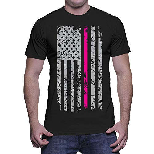 HAASE UNLIMITED Men's Thin Pink Line American Flag T-Shirt (Black, ()