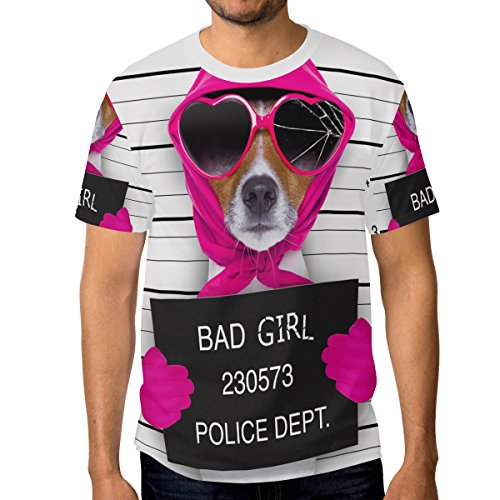 Men Diva Lady Girl Dog With Broken Sunglasses and Scarf T-Shirt Printed Short-Sleeve Crewneck Fan M Tee - Faded Days Sunglasses