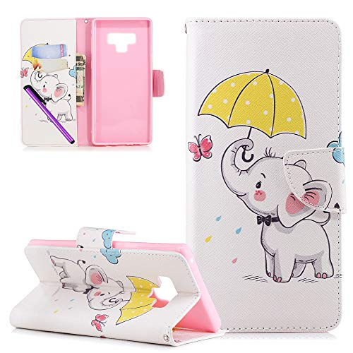 (LEECOCO Samsung Note 9 Case Fancy Printing Floral Wallet Case with Card Cash Holder Slots PU Leather Folio Flip Kickstand Protective Slim Case Cover for Samsung Galaxy Note 9 Umbrella Dumbo BF)
