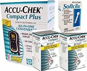 Accu-Chek Compact Plus Diabetes Meter Kit and 51 Compact Test Strips