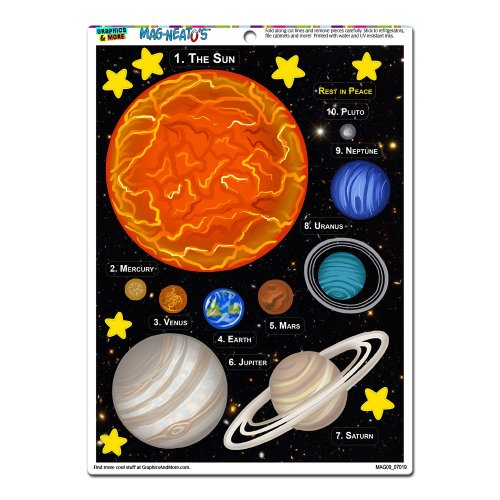 Graphics and More 'The Solar System' Planets MAG-NEATO'S Novelty Gift Locker Refrigerator Vinyl Magnet Set