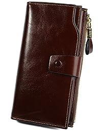 Yaluxe Women's Large Capacity Luxury Wax Genuine Leather Wallet With Zipper Pocket Coffee Brown
