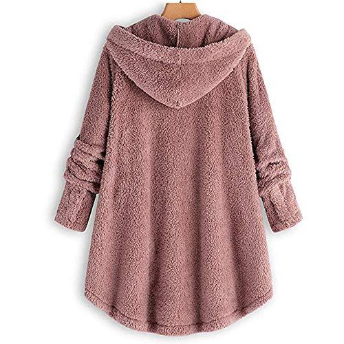 Veste Rose Chaud Femme Hiver Vintage Bouton Manteau Laine D'hiver Manches Polaire En Longues PUqwa7Ax