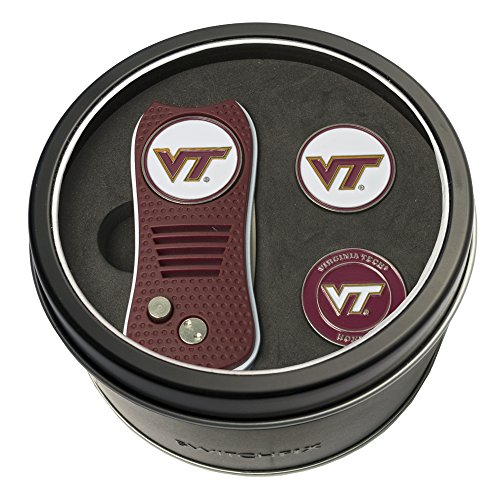 (Team Golf NCAA Virginia Tech Hokies Gift Set Switchfix Divot Tool with 3 Double-Sided Magnetic Ball Markers, Patented Single Prong Design, Causes Less Damage to Greens, Switchblade)